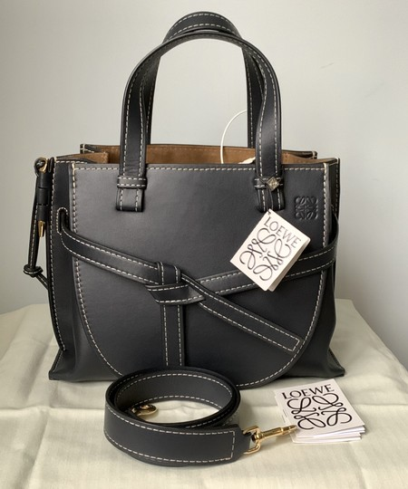 Loewe Small Gate Gate Top Handle Gate Gate Satchel Tote in Blue Midnight Natural Image 2