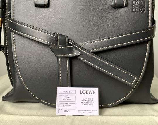 Loewe Small Gate Gate Top Handle Gate Gate Satchel Tote in Blue Midnight Natural Image 3