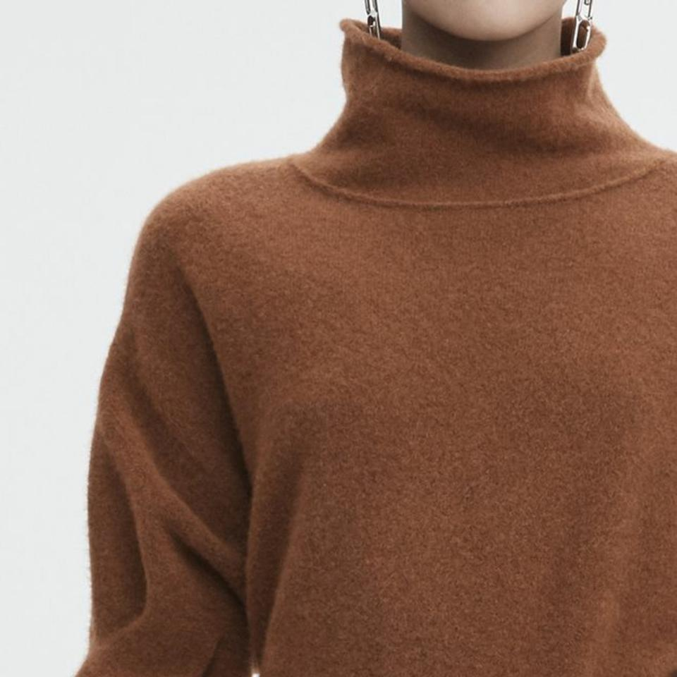 9d10ec67fe2bf T by Alexander Wang Cropped Turtleneck Brown Sweater - Tradesy