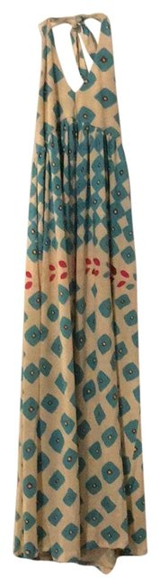 Item - Cream with Teal Fuchsia and Brown Print. Halter Long Casual Maxi Dress Size 8 (M)