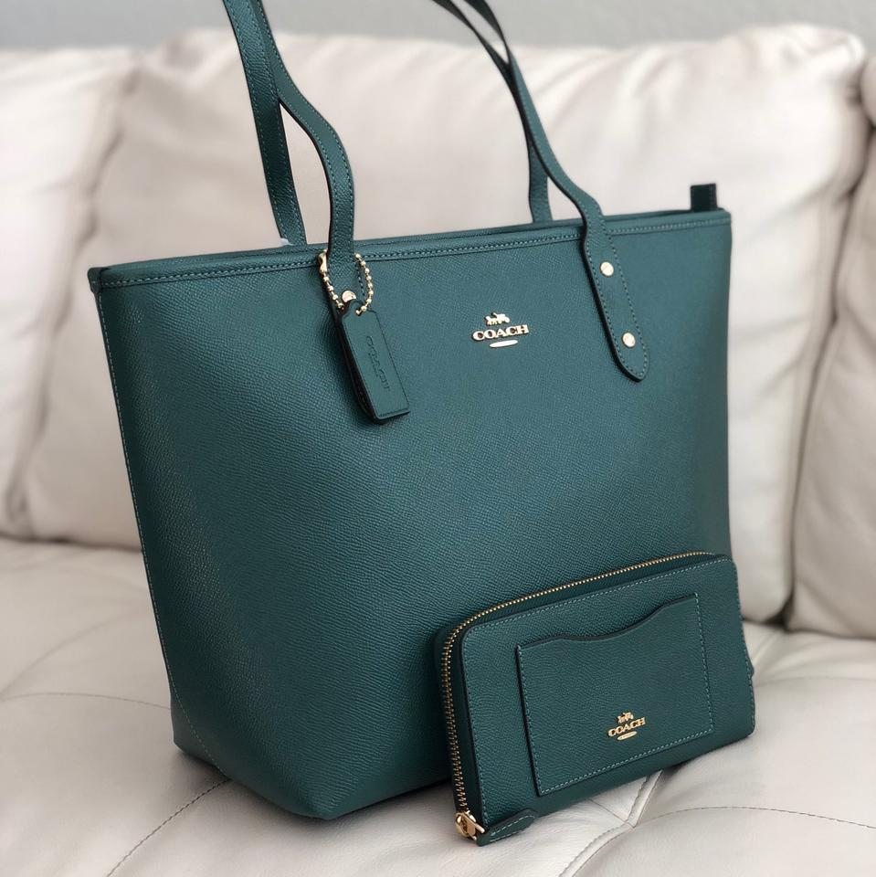 Coach City Zip In Crossgrain Wallet Dark Turquoise Leather Tote - Tradesy 89d4ae6645