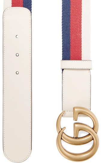 Gucci Gucci size 80 Striped canvas and leather belt Image 1