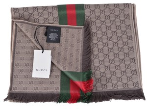 Gucci New Gucci Wool Silk Jacquard GG Guccissima Red Green Web Knitted Scarf