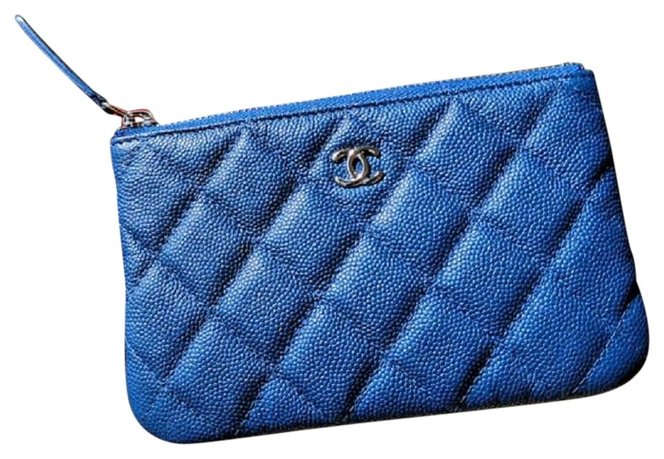 6dd968e82d90 Chanel Blue Caviar Quilted Small Cosmetic OCase Compact Clutch Wallet SHW  ...