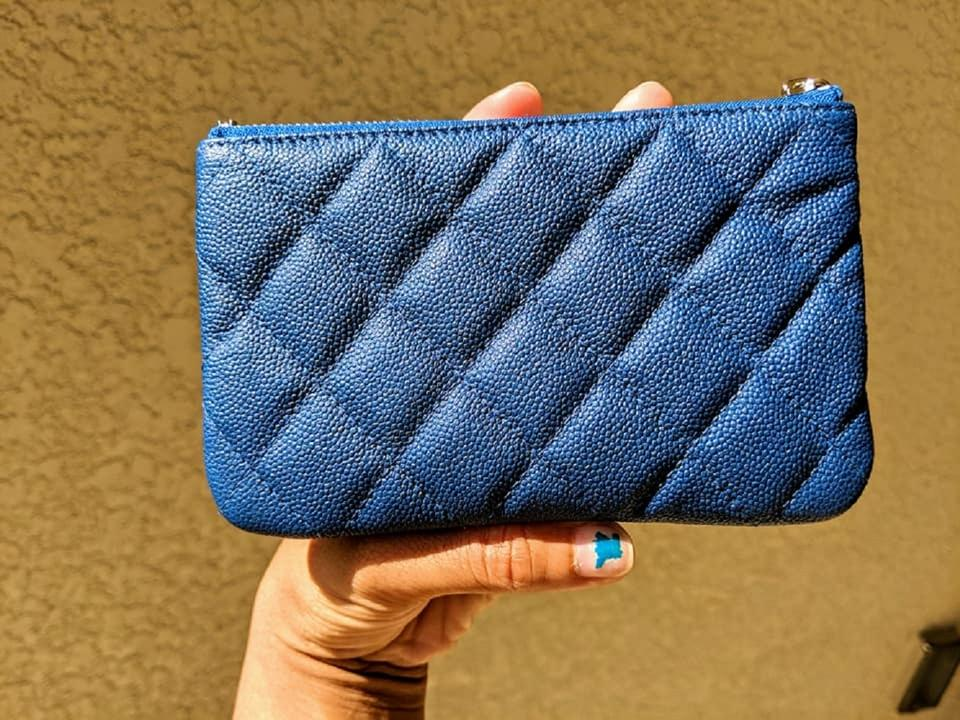 ffa384312998 Chanel Blue Caviar Quilted Small Cosmetic OCase Compact Clutch Wallet SHW.  12345678910