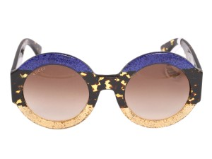 Gucci BLUE AND GOLD GLITTER ROUND SUNGLASSES