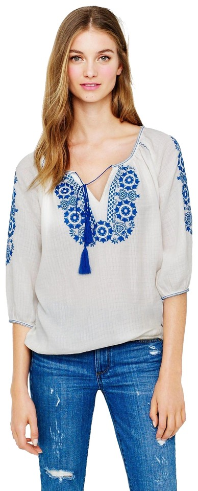 ee3d7615071715 J.Crew Embroidered Peasant Blouse Size 10 (M) - Tradesy