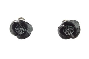 Chanel rare CC flowers glittered hardware pierced stud earrings