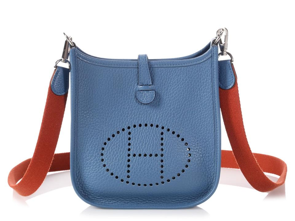 3d92866f261f Hermès Evelyne  sold Aff evelyne Tpm Clemence Bleu Agate Blue Leather Cross  Body Bag 25% off retail
