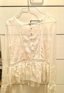 Free People Lace Top White