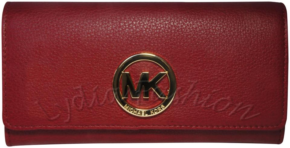 b5df9146693f Michael Kors Cherry Red Fulton Leather Carryall Wallet - Tradesy