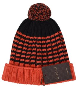 Gucci NEW Gucci Men s 399568 100% Wool Orange Black Striped Beanie Ski Hat e841370aacb