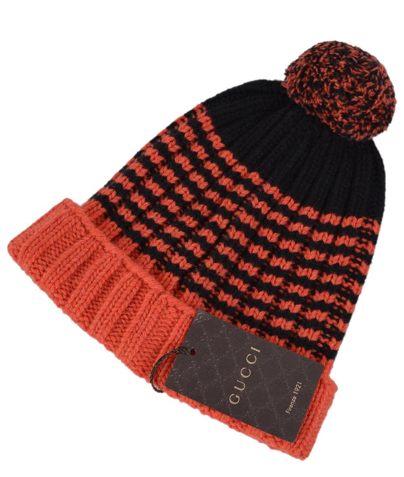 e11f0aed7bc24 Gucci NEW Gucci Men s 399568 100% Wool Orange Black Striped Beanie Ski Hat  Image 6. 1234567
