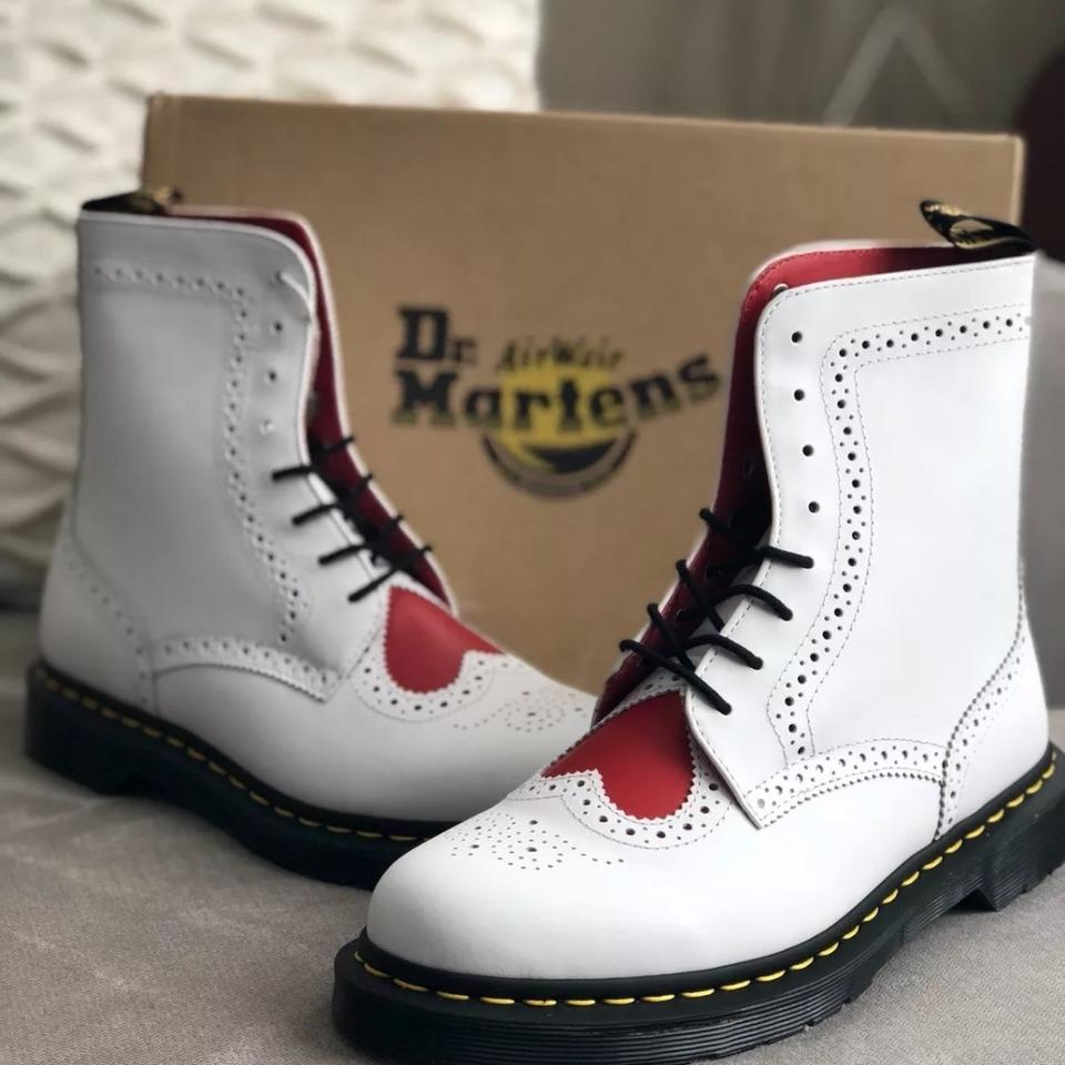 767bae06015a Dr. Martens White Bentley Ii White+heart Red Leather Lace-up Mid Calf Boots/Booties  Size US 7 Regular (M, B) - Tradesy