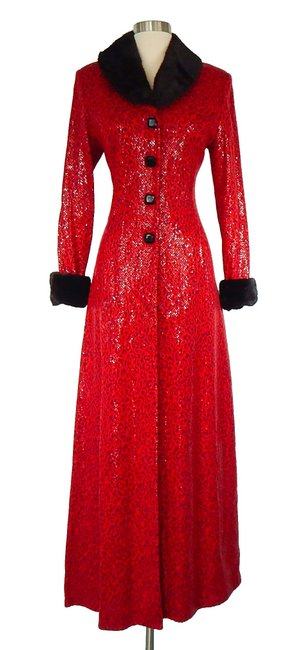 Item - Red Full Length Leopard Paillette Fur Trim Coat Size 4 (S)