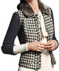 CAbi Faux Fur Full Zip Sweater Houndstooth Jacket