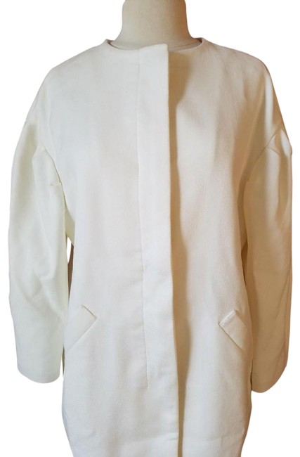 Item - Cream New Round Neck Button Up Long Coat Size 10 (M)