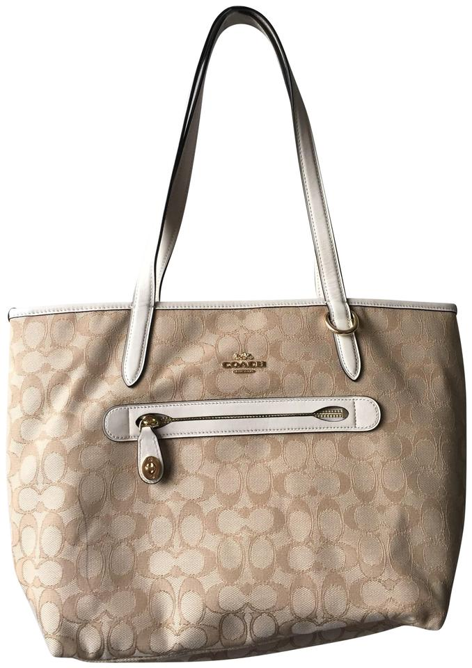 20c94c377f5f Coach Beige  Khaki Taylor Tote In Signature Jacquered Beige Canvas ...