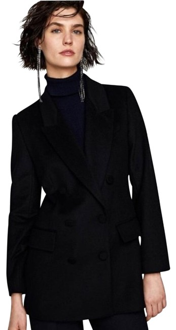 Item - Black L New Wool Short Double Breasted Jacket Coat Size 14 (L)