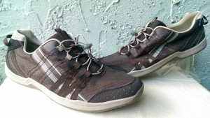 Lands' End Brown Tan White Logo Man's Synthetic Casual 11d Shoes