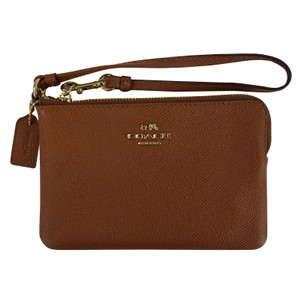 Coach Leather Wristlet in Saddle