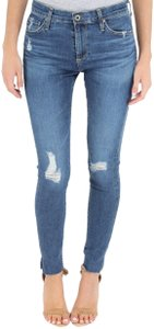 AG Distressed High Rise Raw Hems Skinny Jeans-Medium Wash
