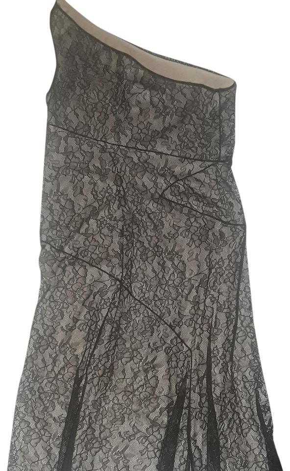 Laundry by Shelli Segal Black Lace Illusion One Shoulder 10p Cocktail Dress ec2143d0f493
