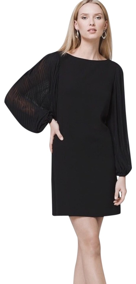 White House Black Market Pleated Sheer Sleeves Short Night Out