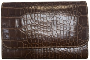 Lancel Lancel Brown Embossed Trifold Wallet