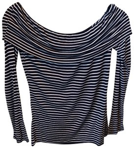 Lucky Brand Striped Viscose Top Navy Blue and White