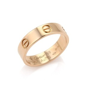 Cartier Love 18k Rose Gold 5.5mm Band Ring Size 59 w/Paper