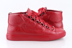 Balenciaga Red Men's Arena Leather Mid-top Sneakers Shoes
