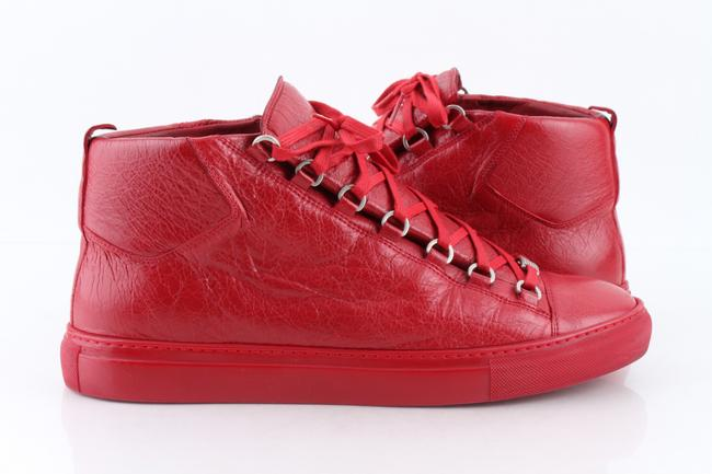 Item - Red Men's Arena Leather Mid-top Sneakers Shoes