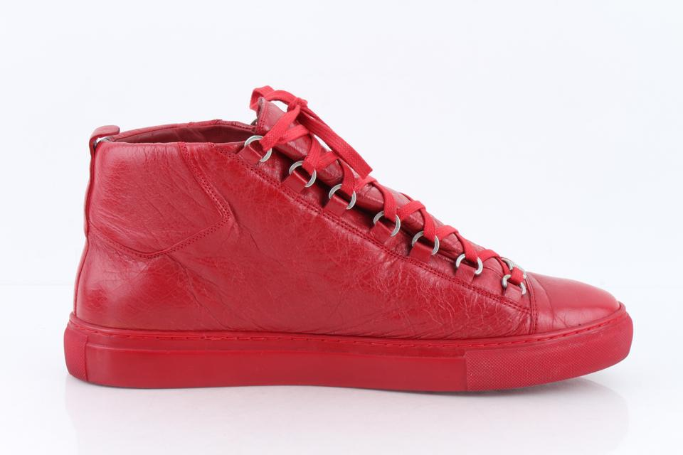 d05a068f5a113 Balenciaga Red Men s Arena Leather Mid-top Sneakers Shoes Image 11.  123456789101112