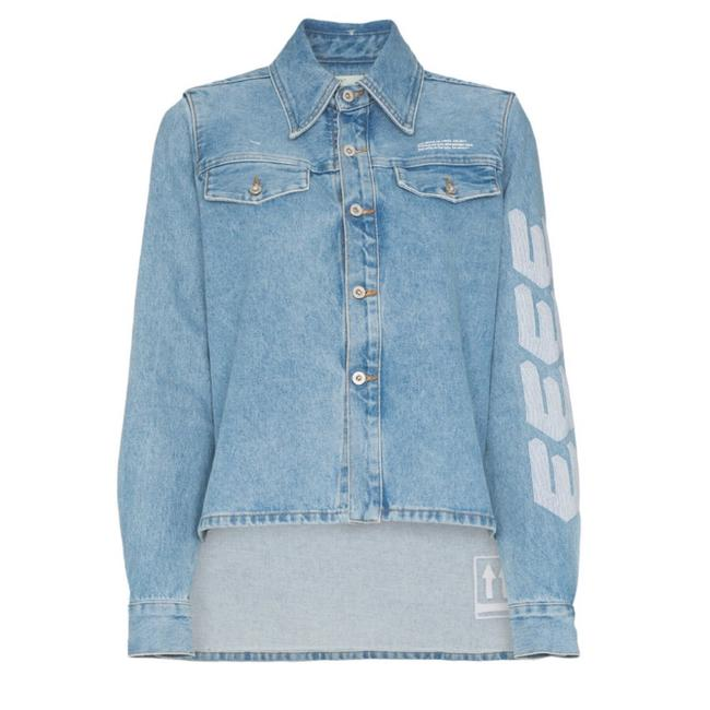 Preload https://img-static.tradesy.com/item/24325402/off-whitetm-logo-embroidered-denim-shirt-jacket-button-down-top-size-4-s-0-0-650-650.jpg