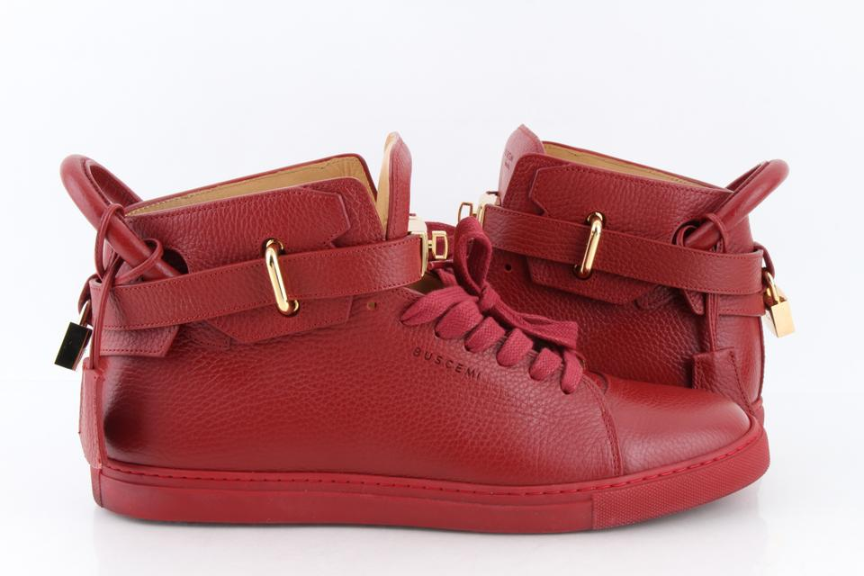 3ac9cd0dce91 Buscemi Red Leather 100mm Guts Mid Top Sneakers Shoes Image 0 ...