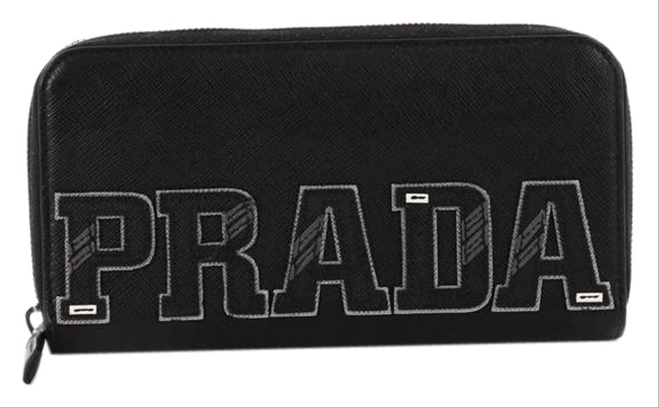 354f1f9fd790 Prada Patches Zip Wallet Saffiano Black Leather Wristlet - Tradesy