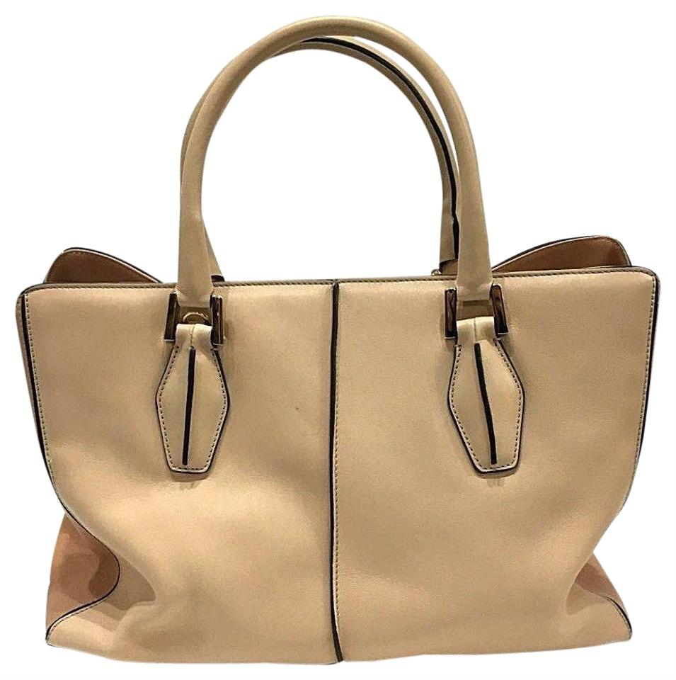 b8101df4c9d Tod s D-cube Bauletto Piccolo Handbag Purse Camel Jp Creamy Beige Leather  Tote