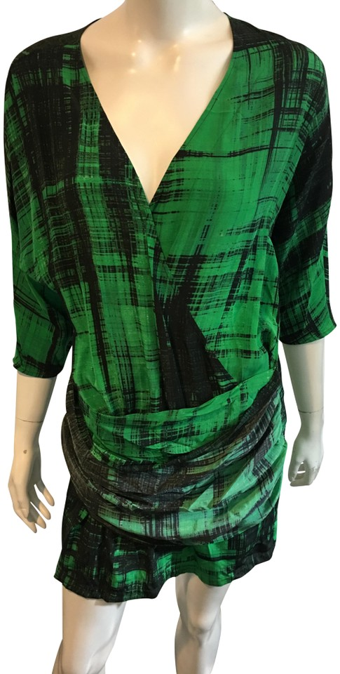 d8be027fe690 Thakoon Green Black 501018 Green Black Check Deep V Neck Silk Dress Tank  Top Cami