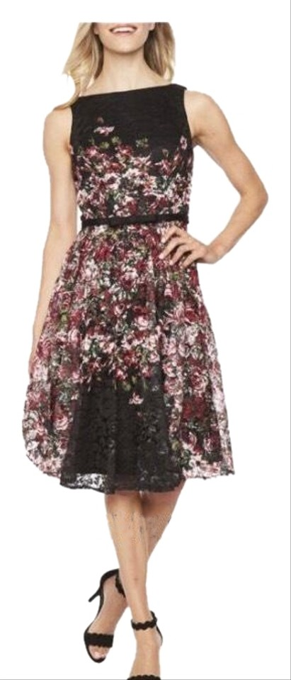 Danny Amp Nicole Black Berry Sleeveless Lace Floral Fit