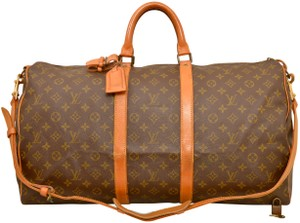 Louis Vuitton Duffle Gym Suitcase Shoulder Strap Bandouliere Brown Travel Bag