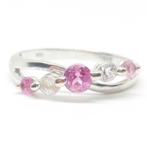 Zales 10k White Gold Authentic Pink & White Sapphire Ring