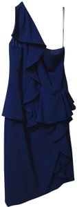 Theia One Shoulder Ruffle Peplum Evening Sheath Dress
