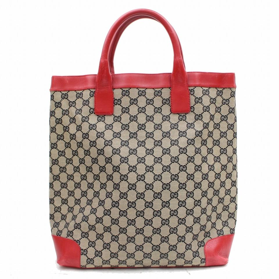 6396d739f1b Gucci Gg Monogram Logo W Red Leather Handbag Brown Canvas Tote - Tradesy