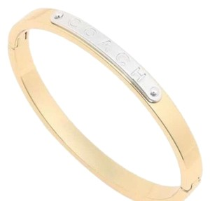 Coach NWT Coach Gold Bangle Bracelet with COACH embossed on Silver