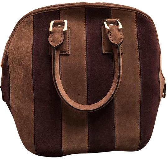 Handbag Brown Suede Leather Satchel