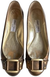 Jimmy Choo Leather Comfortable Casual Classic Gold & Bronze Flats