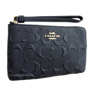 Coach Corner Phone Case Wallet Embossed Leather Wristlet in Midnight (Blue)
