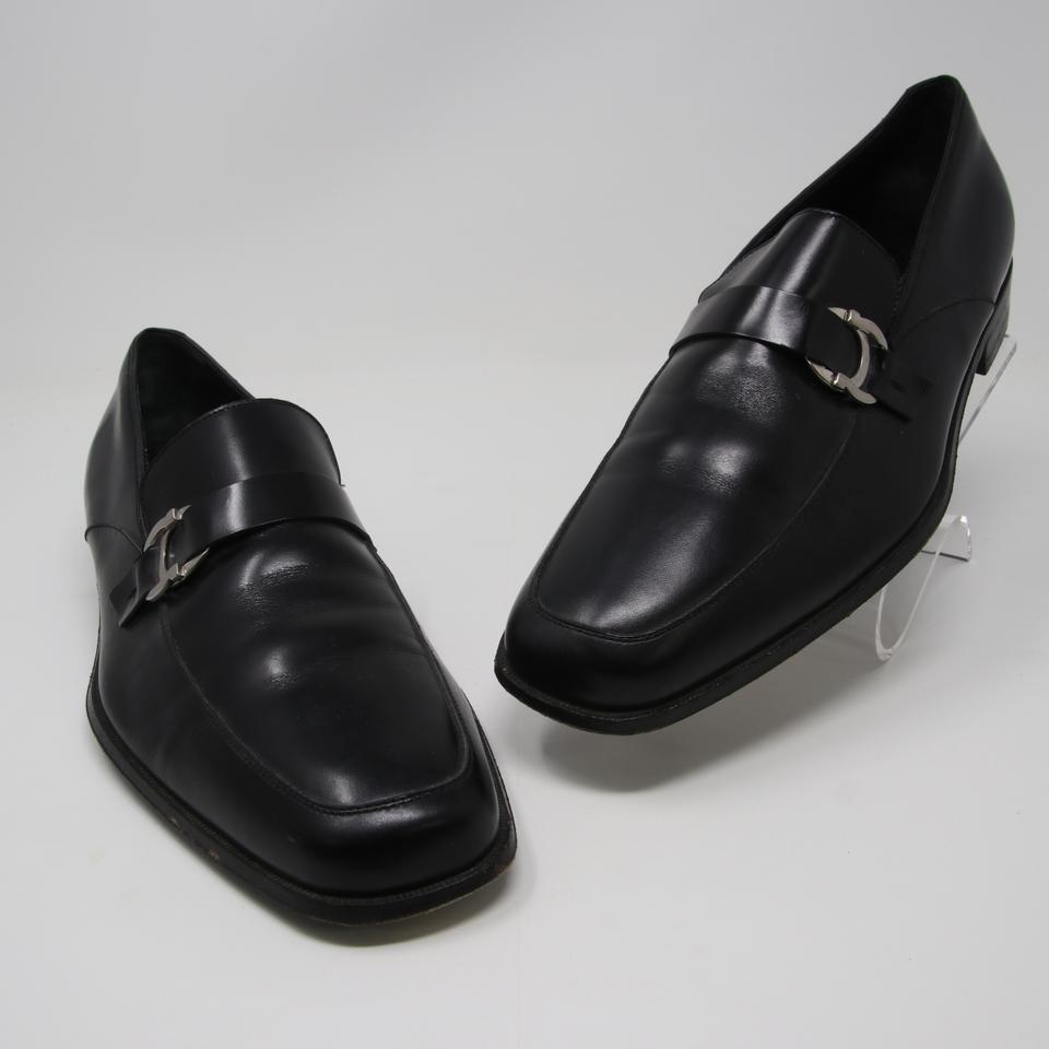 f71ebcf30df423 Salvatore Ferragamo Black Classic Leather Gancini Bit Forbes Men s Dress  Loafer Shoes
