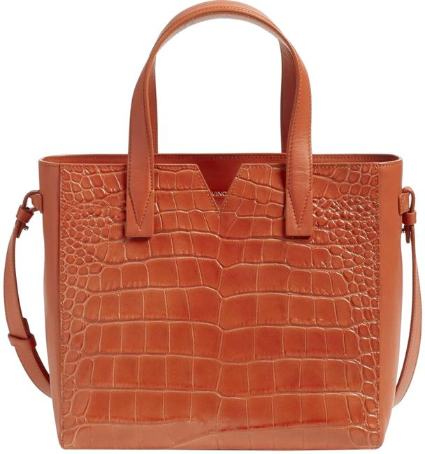 Item - Tote Baby Signature V Croc Embossed Whiskey Brown Leather Cross Body Bag